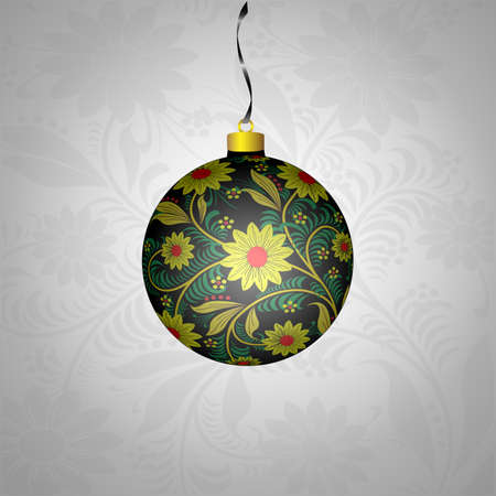 Christmas ball in Khokhloma-style.National Russian handmade Vector