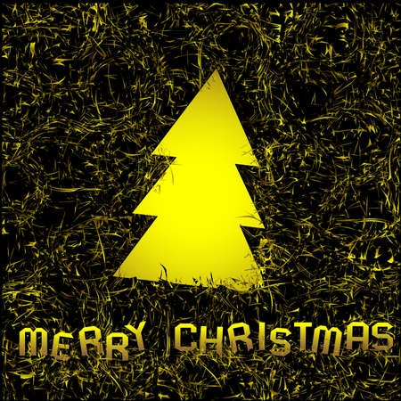trumpery: Golden christmas background with christmas tree of foil.