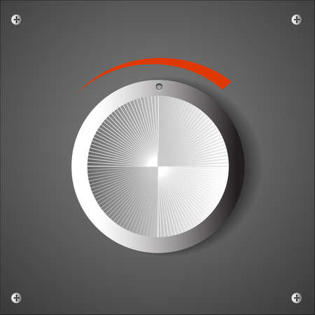 Chrome volume knob. Vector