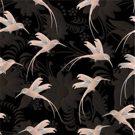 Beautiful seamless pattern.Colibri with flowers. Vector