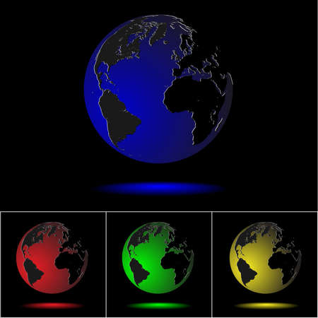 Realistic colored globes on black. Stock Vector - 11552268