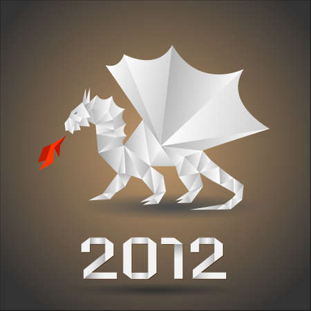 Dragon origami. Vector