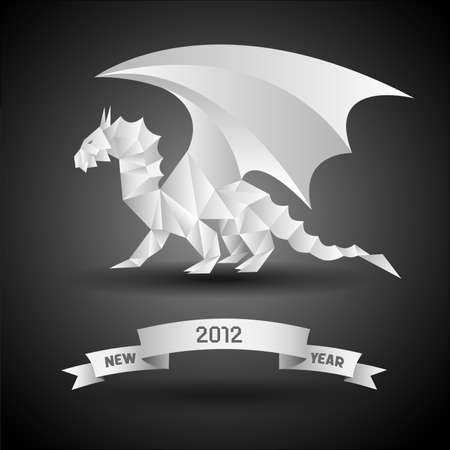 Dragon with banner New Year 2012. Vector origami. Vector