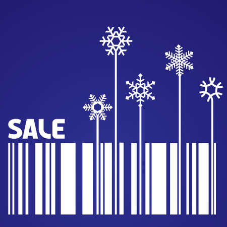 barcode: Original winter sale vector with stylized snowflake and bar-code Illustration