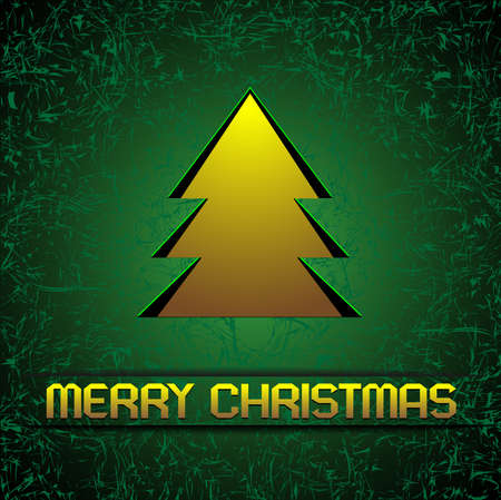Gold Christmas tree on green. Vector background. Eps 10 Vector