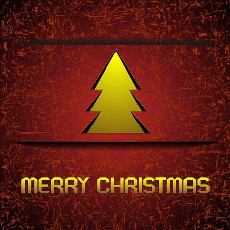 Gold Christmas tree on original red background .Vector card. Stock Vector - 11552263