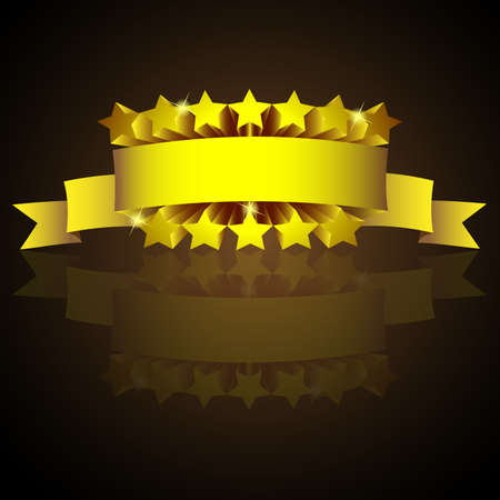 Golden label sign with stars and reflection.  Vector