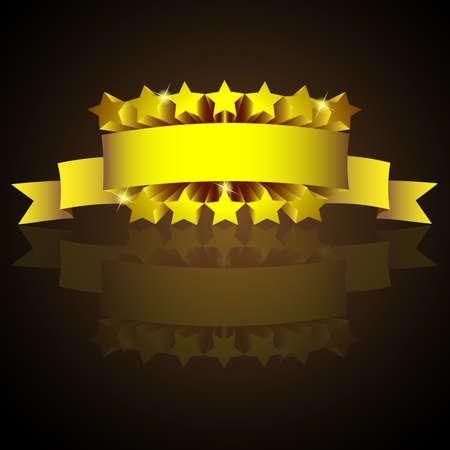 Signo de la etiqueta de oro con las estrellas y la reflexión.