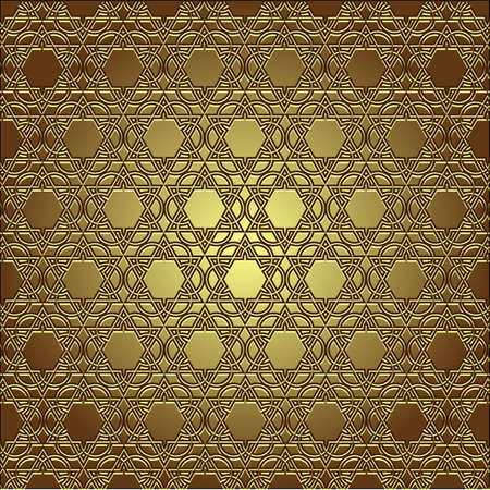 Golden seamless eastern ornament. Vector