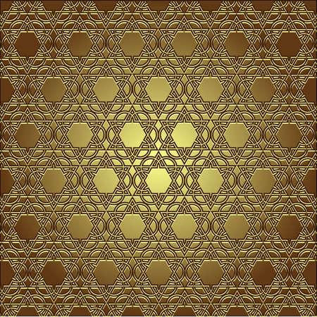 arabic frame: Golden seamless eastern ornament. Illustration