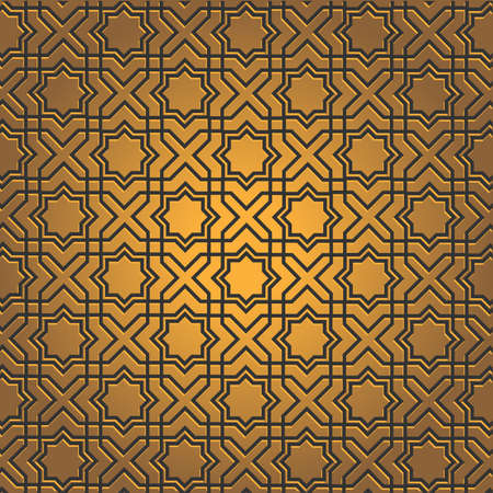 bronze: Golden  pattern on islamic motif.  Illustration
