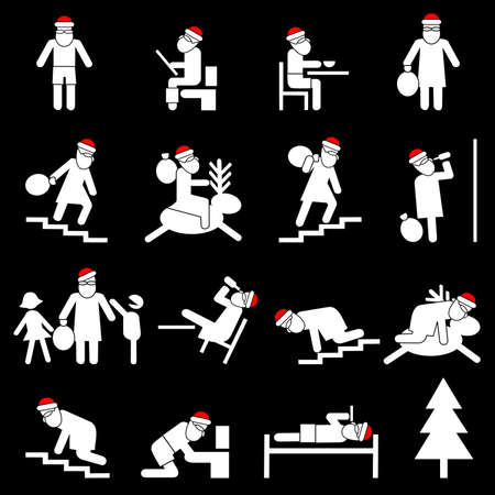 One day of life Santas.Comic story for adults. Vector illustration