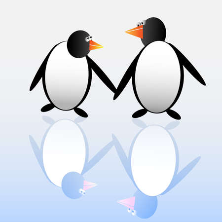 Two funny penguins. Vector