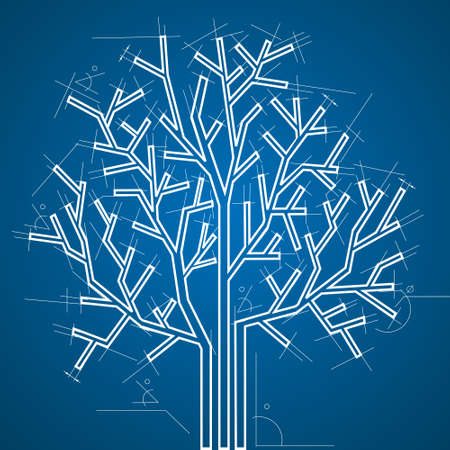 architectural style:   Tree in  architectural style. Vector background.
