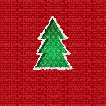 Christmas tree formed from torn paper.  Vector