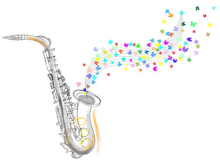 pictorial  representation:  Sketch of the saxophone. vector illustration