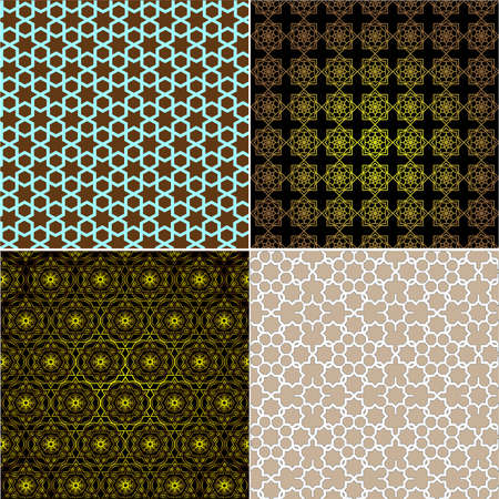 Set of ornamental seamless patterns in islamic style. Vector illustration Vector