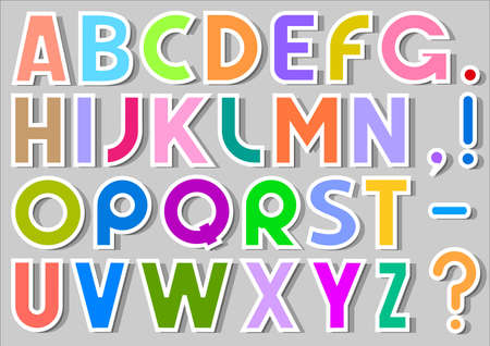 block letters: Multicolor Alphabet Stickers. vector illustration Illustration