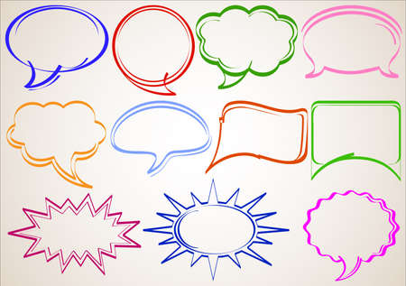 Multicolor hand-drawn talking bubbles comic book style Vector