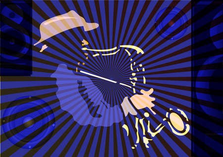 Musical background with saxophone player. Vector illustration.
