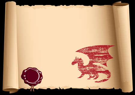Old scroll with symbol 2012 year of Dragon. Vector EPS10. Vector