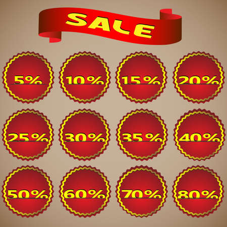 Set of red sale stickers. Vector