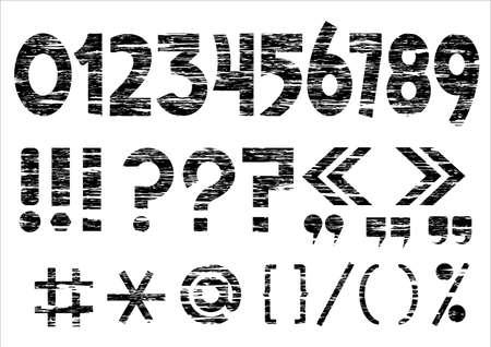 exclamacion: Números 0-9 y las marcas de puntuacion de grunge style.Vector