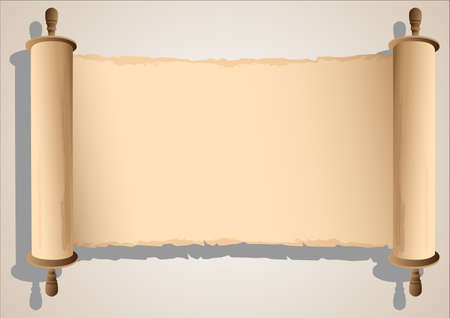 purim: Old Scroll Banner. Illustration
