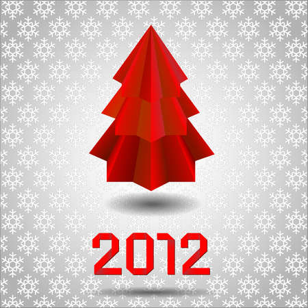 Origami Christmas tree made from paper.  Vector
