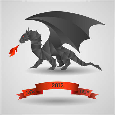Origami Black dragon  - symbol of 2012 year. Stock Vector - 11552272