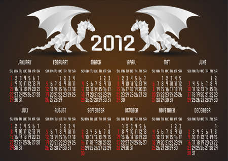 Origami Calendar 2012 with Dragon. Stock Vector - 11552257