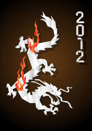 Origami Chinese Dragon . Vector