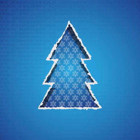 Blue christmas tree formed from torn paper.Vector Illustration Vector