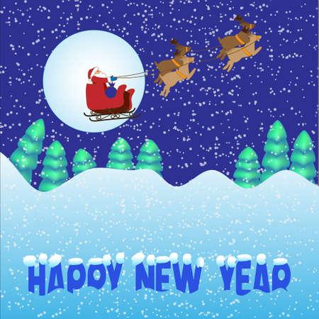 Santa Claus flying in the sky.vector illustration  Vector