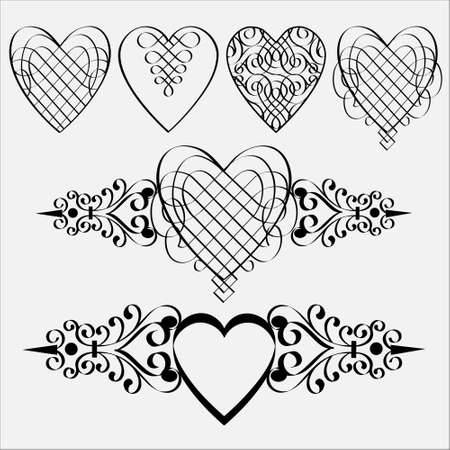 heart outline: Vector set of calligraphic hearts.Elements design