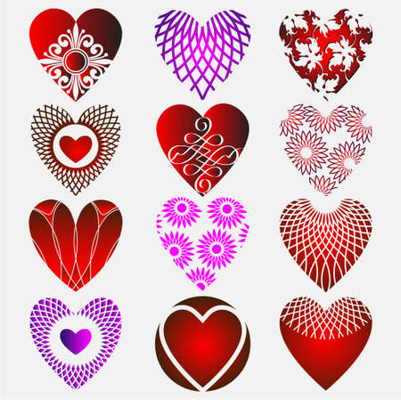 Set of complex heart icon  with calligraphic elements Stock Vector - 11552240