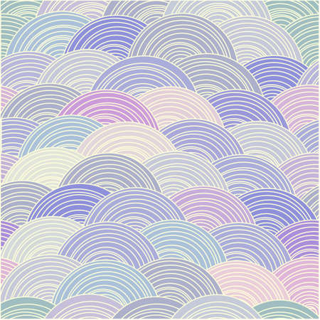 Curled abstract waves in pastel tones. Vector seamless background Vector