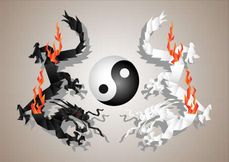 Chinese dragons yin and yang symbol concept.Vector paper art Vector