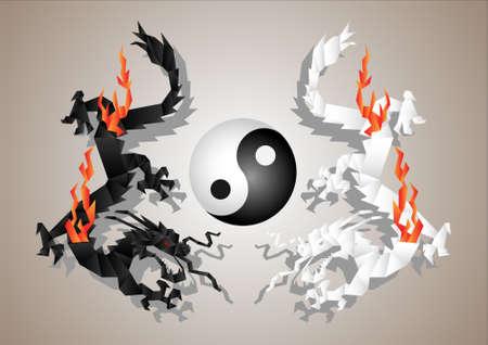 Chinese dragons yin and yang symbol concept.Vector paper art Stock Vector - 11552242
