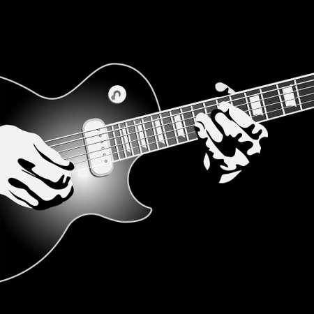 musician silhouette: Guitar player.Vector illustration