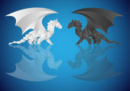 Two origami dragons  with reflection on blue background Vector