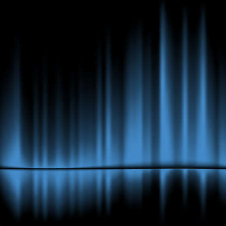 black floor:  Blue drapes reflected.Vector background, 10eps
