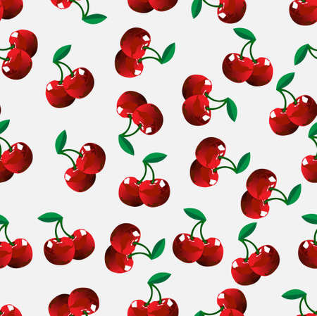 sweet and sour: Seamless cherry background. Vector illustration