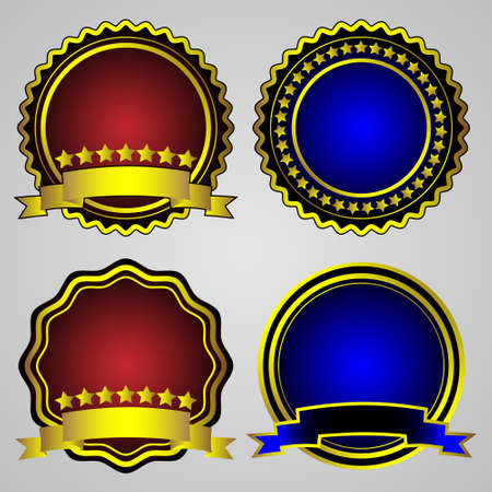 Four gold-framed labels. Vector set Vector