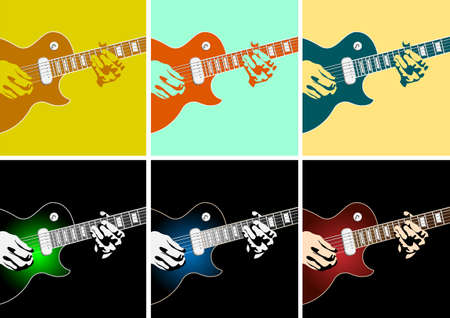 soloist: Musical background with guitar player.Vector illustration Illustration