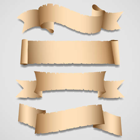 burnt edges: Old banners and ribbons.Vector set Illustration