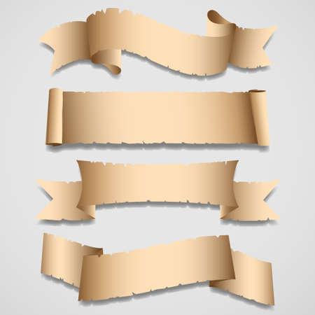 curled edges: Vecchi striscioni e set ribbons.Vector