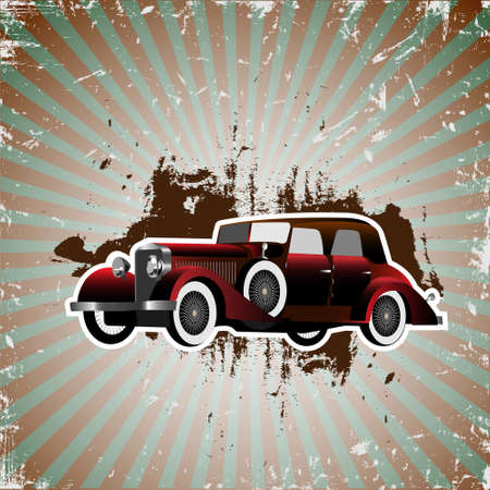 dirty car:  Grunge background with retro car.Vector illustration Illustration