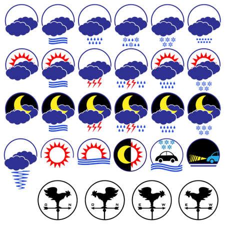 meteo: Weather icons.Vector set