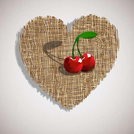 inlove: Artistic cherry on weave heart.Vector illustration